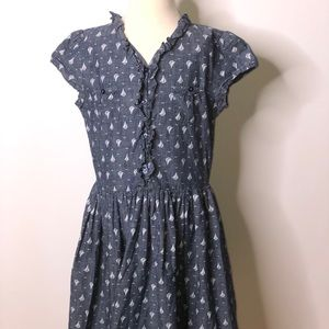Lands end girls Chambray Sailboat Print Dress